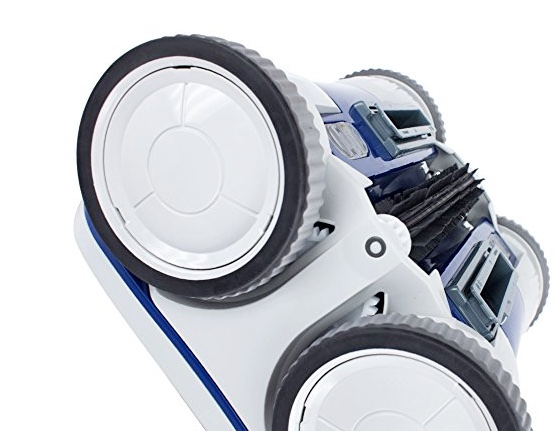 Aquabot X4 robotic pool cleaner review - wheels brushes and undercarriage