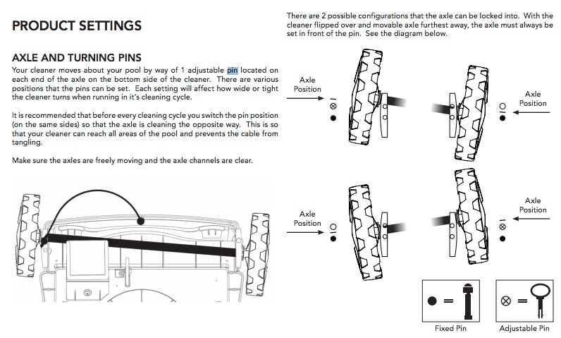 The Pool Rover Series Has An Axle Pin That Can Be Adjusted To Improve Cleaning Action For Different Pools Heres A Screenshot Taken From Aquabots Manual