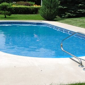 Open inground swimming pool